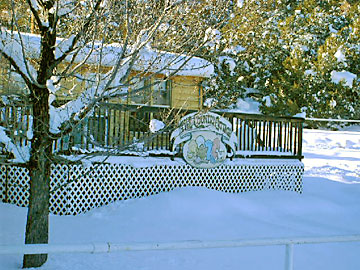 Cottage front deck in winter
